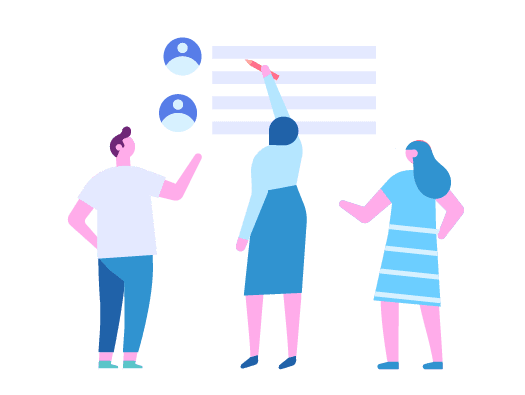 Image shows illustration of three people trying to prioritise tasks into a list.