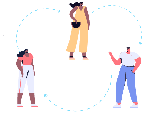 Image shows an illustration of three people interacting with each other. There is an arrow to signal the circular movement that players of the Circulate Icebreaker will follow.