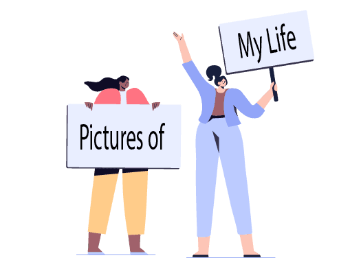 Image shows an illustration of two people, each holding up signs. Collectively the signs read Picture of My Life, the name of the training icebreaker.