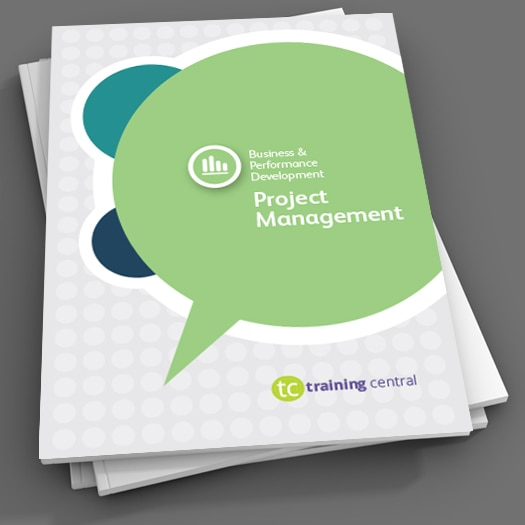 Image shows the cover page of the workbook for Training Central's project management training content.