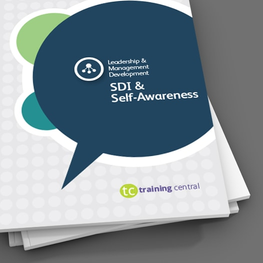 Image shows a close up of the cover of the workbook for Training Central's SDI and Self-awareness training materials.
