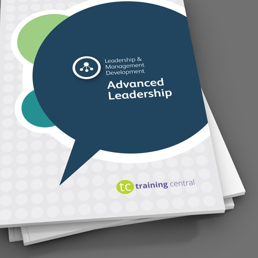 Image shows a close up of the cover of the workbook for Training Central's Advanced Leadership training materials.