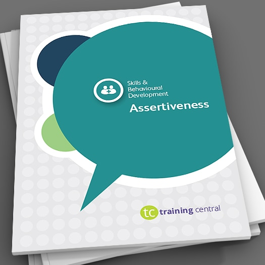 Image shows the cover page of the workbook for Training Central's Assertiveness training materials.