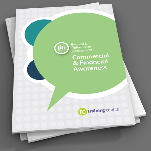 Image shows the cover page of the workbook for Training Central's Commercial Awareness training materials, which can be used when developing commercial awareness