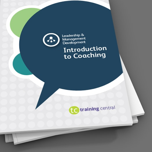 Image shows the cover of the workbook for Training Central's Introduction to Coaching training materials.