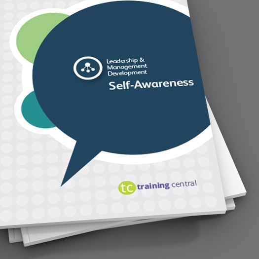 Image shows a close up picture of the cover of the workbook for Training Central's Self-Awareness training materials.