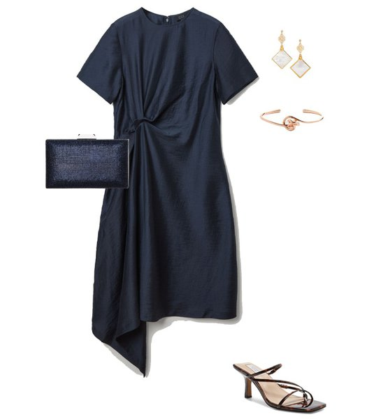An asymmetrical dress outfit to wear to a conference | 40plusstyle.com