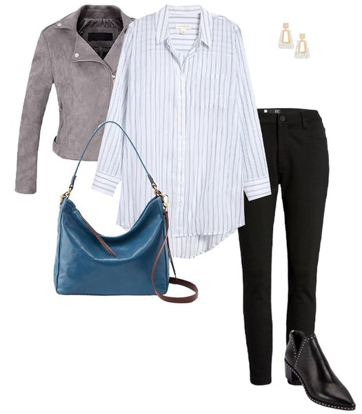 Jacket outfit idea to hide your belly | 40plusstyle.com