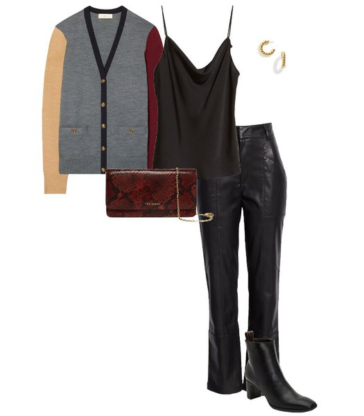 Cardigan worn with leather pants | 40plusstyle.com