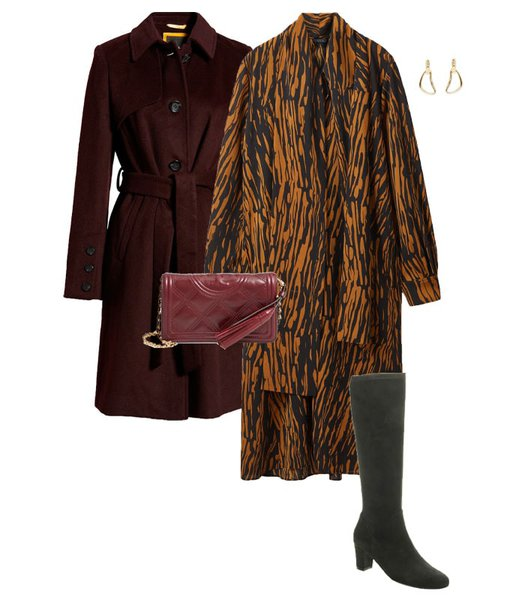 New Year's Eve outfits - print dress and boots | 40plusstyle.com