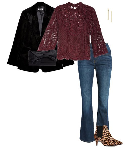 New Year's Eve outfits - lace top and jeans | 40plusstyle.com