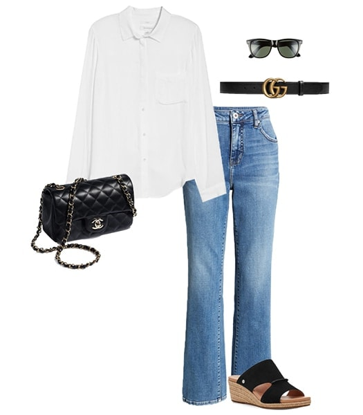 Jennifer Aniston outfit idea - button down shirt and bootcut jeans | 40plusstyle.com