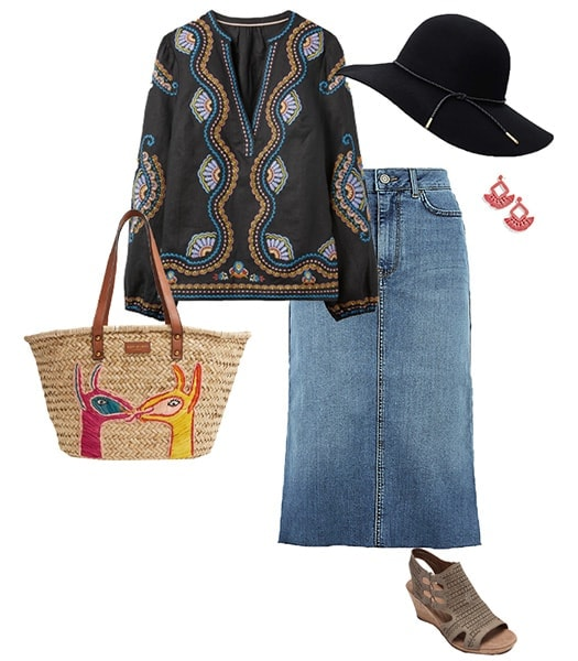 Styling a denim skirt for a bohemian look | 40plusstyle.com