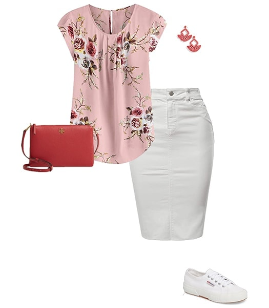 Pink blouse and denim skirt outfit | 40plusstyle.com