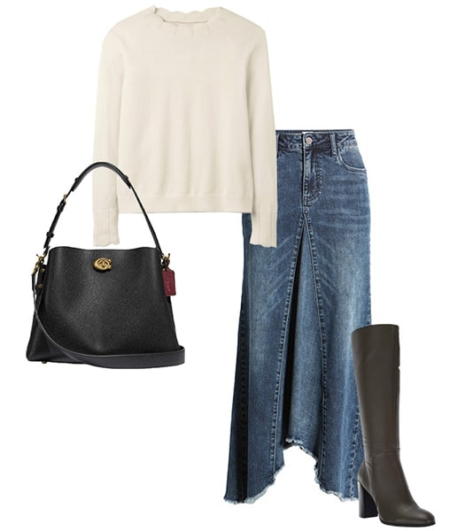 Denim skirt and sweater outfit | 40plusstyle.com