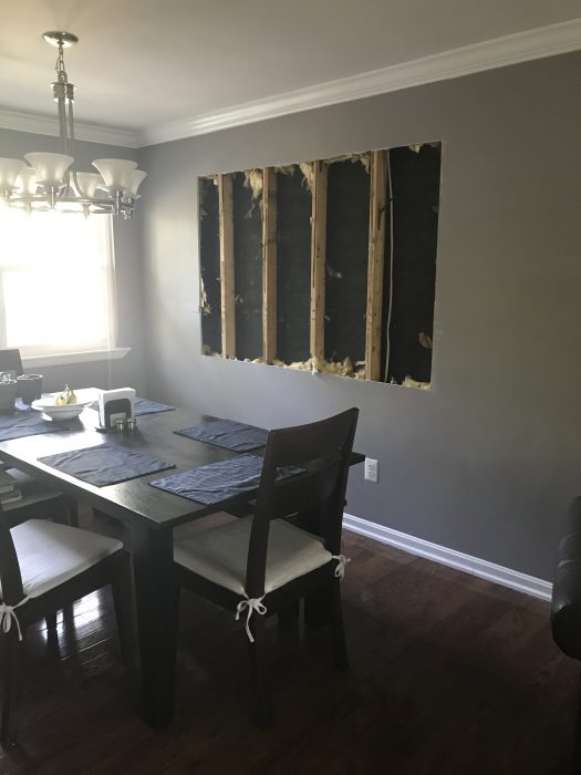 hole cut in dining room walls