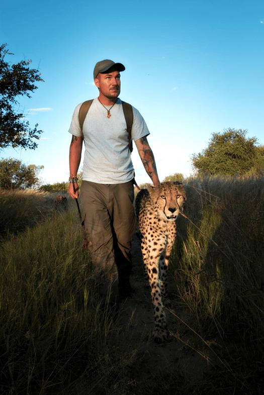 Sebastian Hilpert mit Geparden in Namibia - Würzburger Stadtmagazin LIEBE NACHBARN