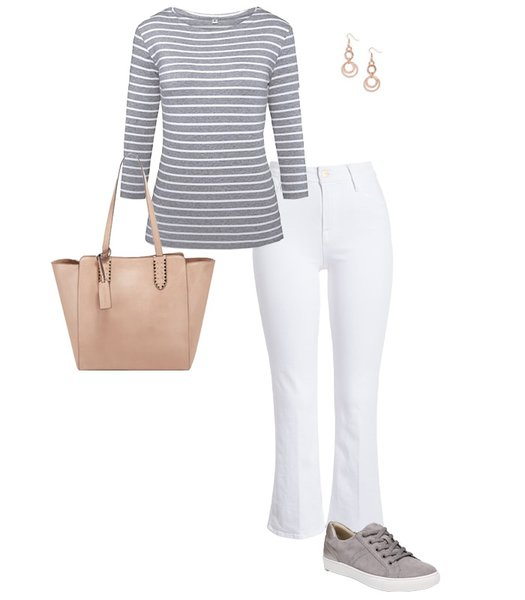 stripes and white pants | 40plusstyle.com