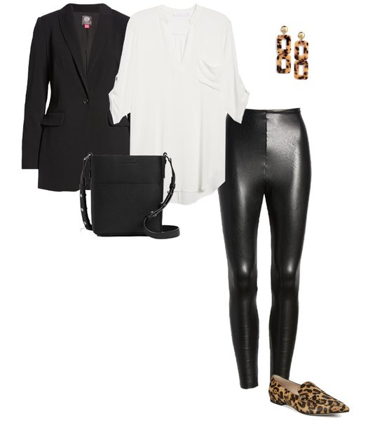 loafers with leather pants | 40plusstyle.com
