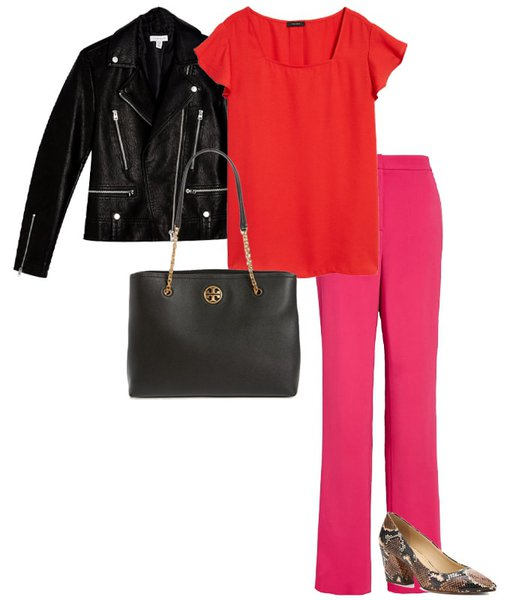 pink and red outfit | 40plusstyle.com