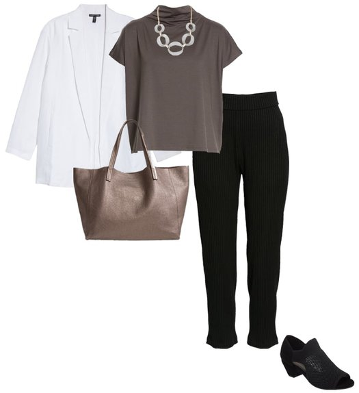 Minimal capsule wardrobe for winter from Eileen Fisher   40plusstyle.com