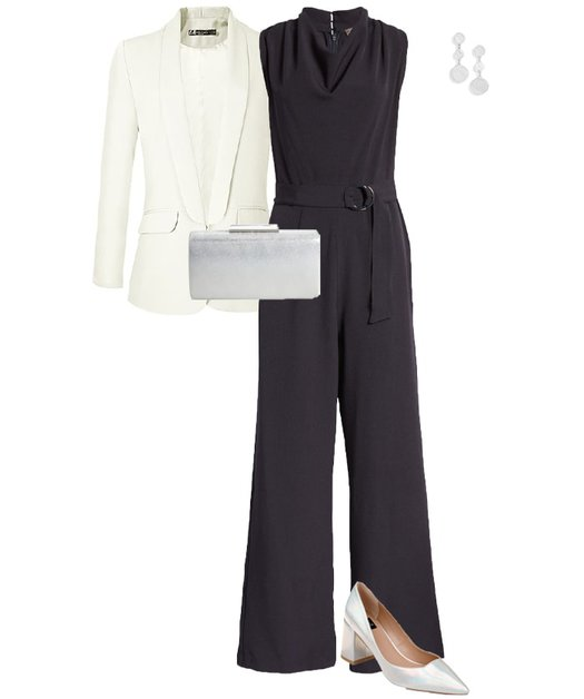 NYE outfit idea - navy jumpsuit and silver accessories | 40plusstyle.com