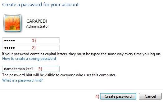 cara mempassword laptop pada windows 8