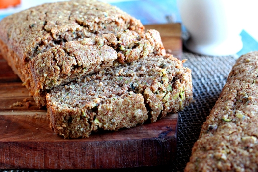 sliced loaf of zucchini quinoa bread