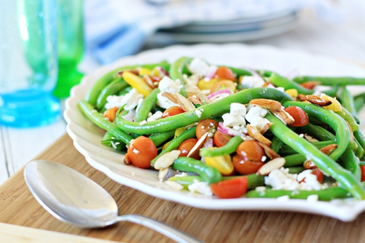 green beans with feta and almonds