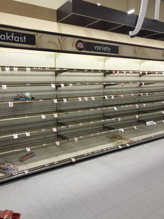 empty bread aisle from coronavirus