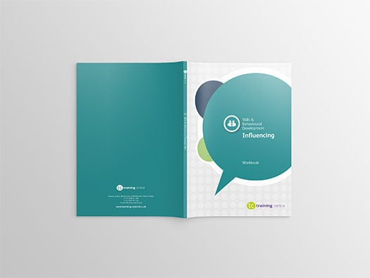 Image shows the cover spread of the workbook for Training Central's Influencing Skills training materials.