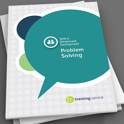 Image shows the cover page of the workbook for Training Central's problem-solving training materials.