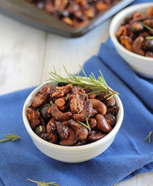 Spicy rosemary maple cider nuts