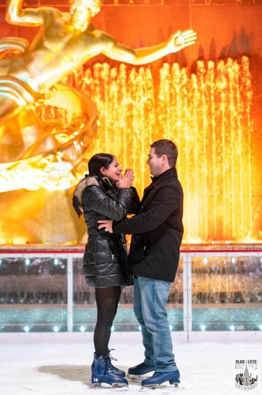 Photo 5 Ice Skating Marriage Proposal at Rockefeller Center | VladLeto