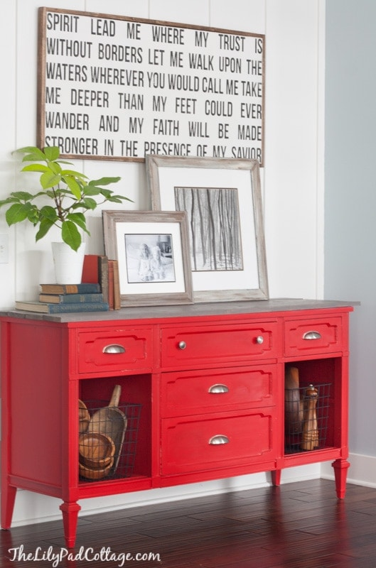 Red Painted Buffet Table