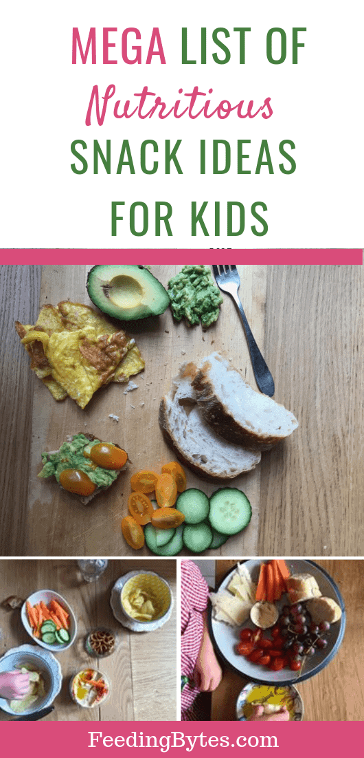 If you're stuck in a snack rut for your toddler or school-age child, this mega list includes healthy and nutritious snack ideas you can mix and match. Choose from 5 food groups to come up with your own delicious combos. Your child will leave the table satisfied. From Feeding Bytes.