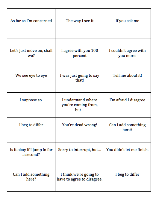 esl speaking activity for discussion
