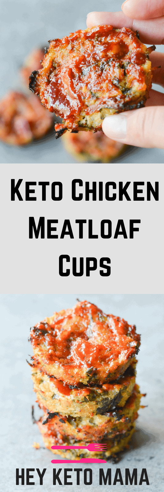 These Keto Chicken Meatloaf Cups are one of the easiest Low Carb Dinners I've ever made! Want to add some extra flavor? Wrap them in bacon!   heyketomama.com