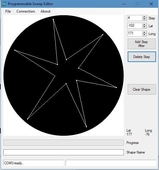 Screen caputer of Programmable Sweep Windows Editor software