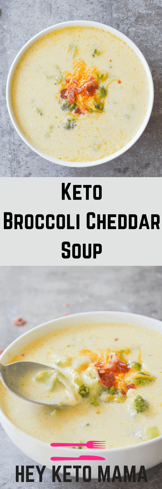 This Keto Broccoli Cheddar Soup is so yummy and filling, you won't even miss the potatoes! It's an excellent low carb option for any Fall meal! | heyketomama.com