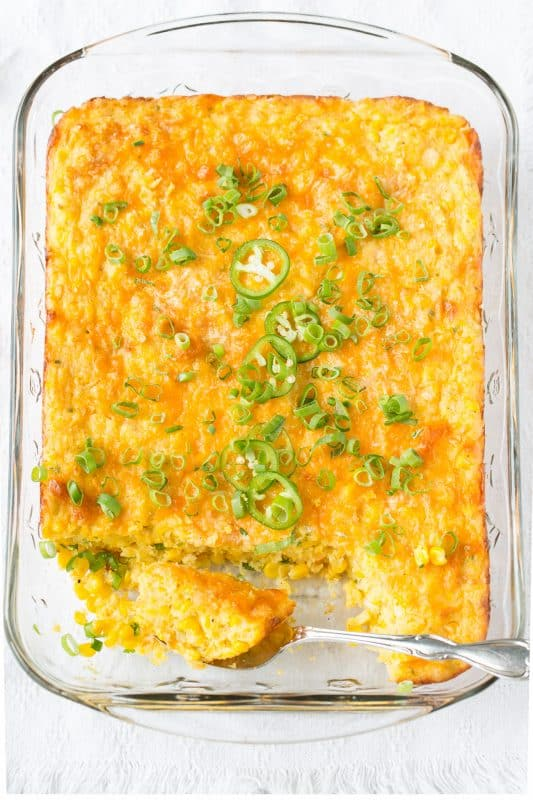 Spicy, Cheesy Corn Casserole with Jalapeños