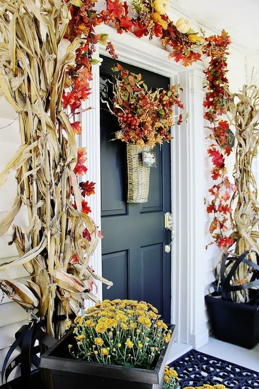 Here's a peek at our new autumn front door, decorated for fall