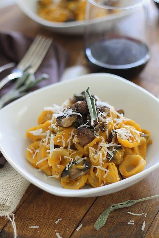 Creamy Butternut Squash Pasta with Sage Mushrooms | runningtothekitchen.com