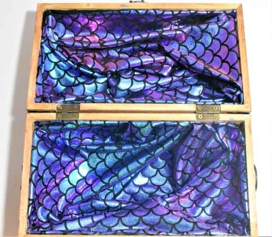 Mermaid scale iridescence fabric lining treasure chest