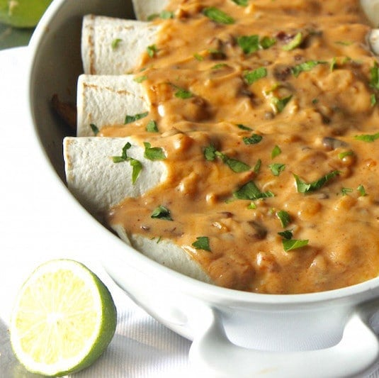 Chicken Poblano Burritos with Creamy Chipotle Sauce