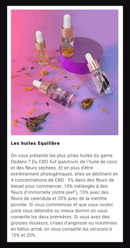 my little Paris : Les 4 huiles de cbd Equilibre sur fond rose et plantes