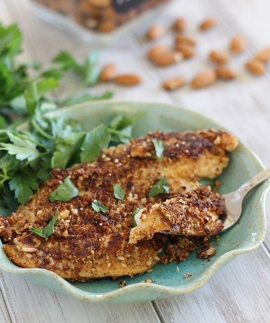 paleo dijon almond crusted tilapia