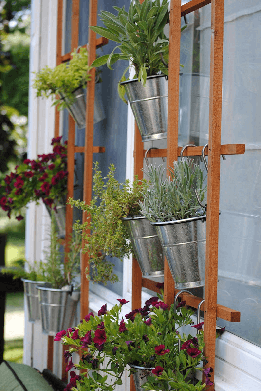Hanging Trellis vertical garden small home space ideas