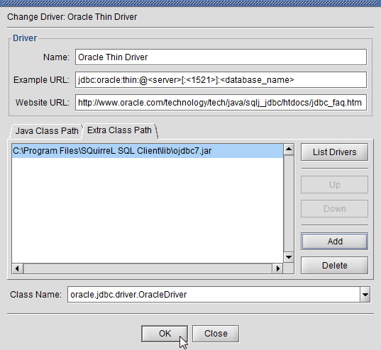 SQuirreL SQL Client - ojdbc7.jar Oracle JDBC driver added