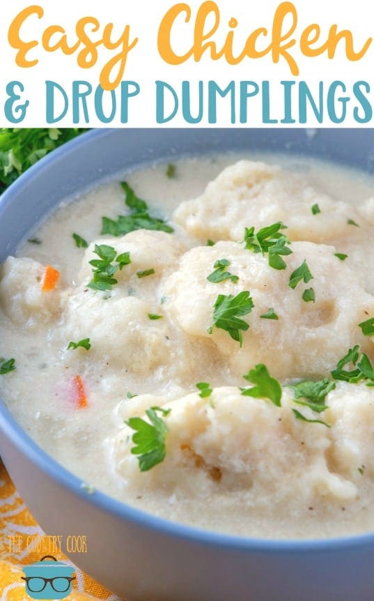 Easy Chicken and Drop Dumplings recipe from The Country Cook